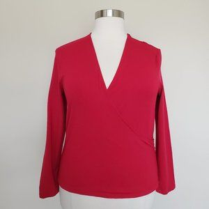 J Jill Stretch Red Crossover Top Shirt Size XL